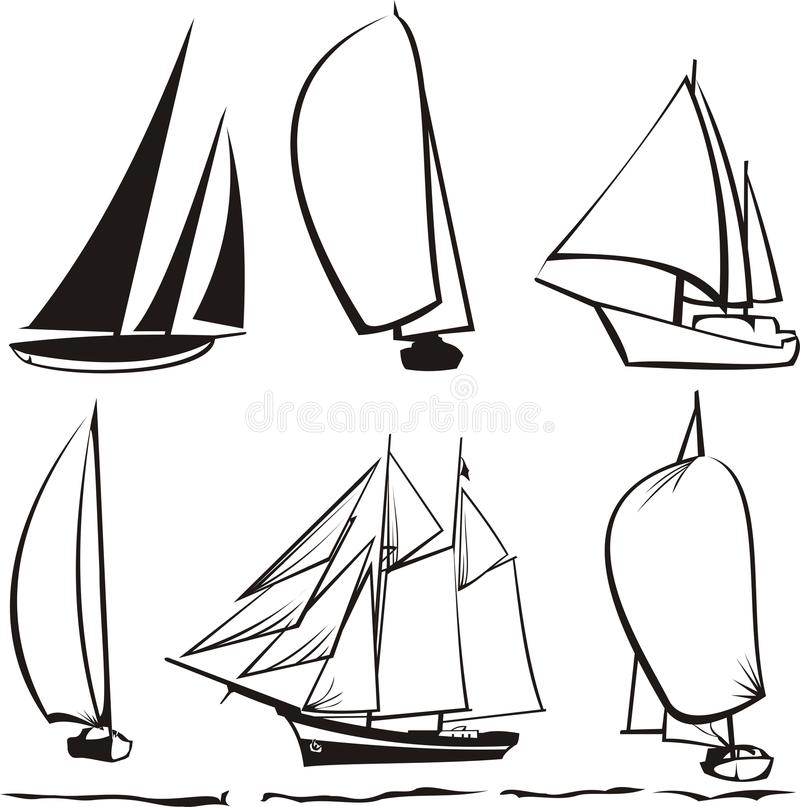 silhouetteyachter royaltyfri illustrationer