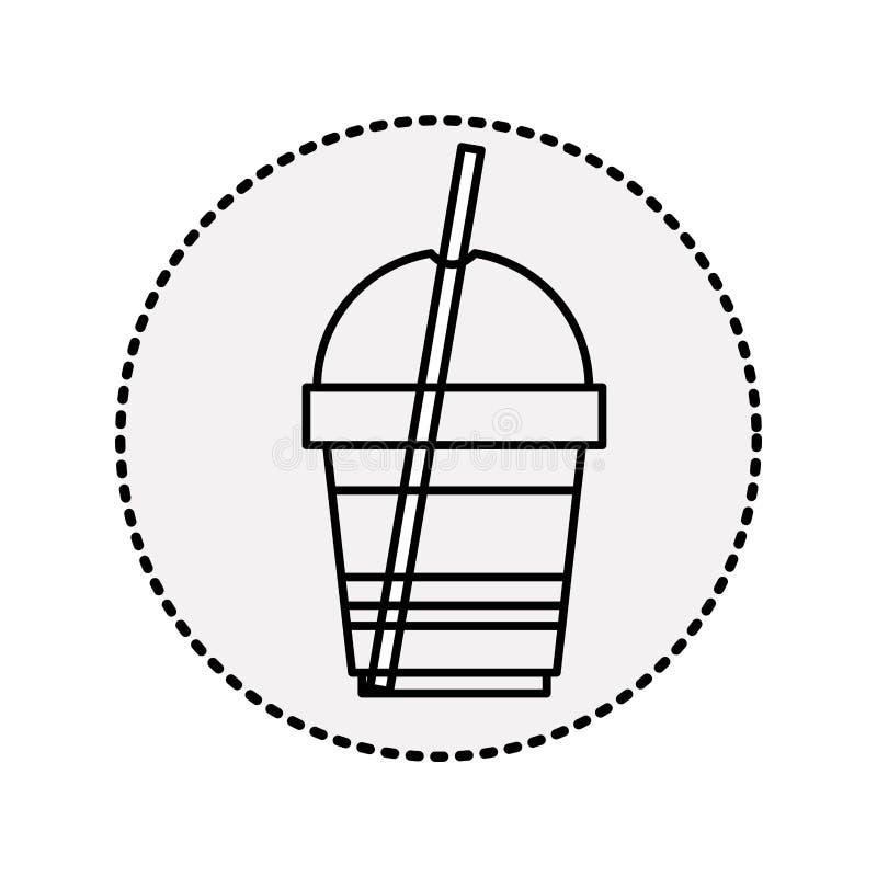 silhouettez jetable en verre du cappuccino avec les boissons maigres illustration de vecteur