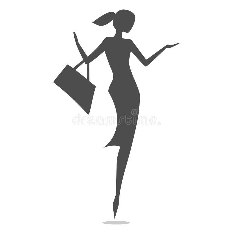 Silhouettez l'achat de filles de mode d'isolement sur le fond blanc Illustration de vecteur illustration stock
