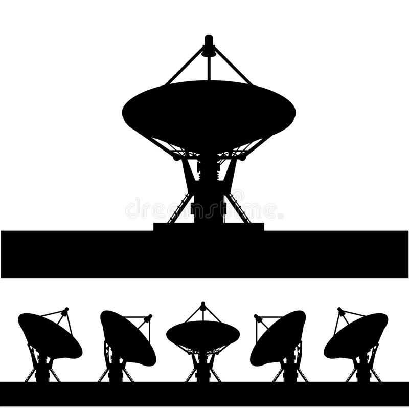 Silhouettez l'antenne parabolique   illustration stock