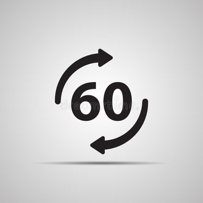 Silhouettez l'icône plate, conception simple de vecteur avec l'ombre Rond avec la flèche et le symbole 60 illustration stock