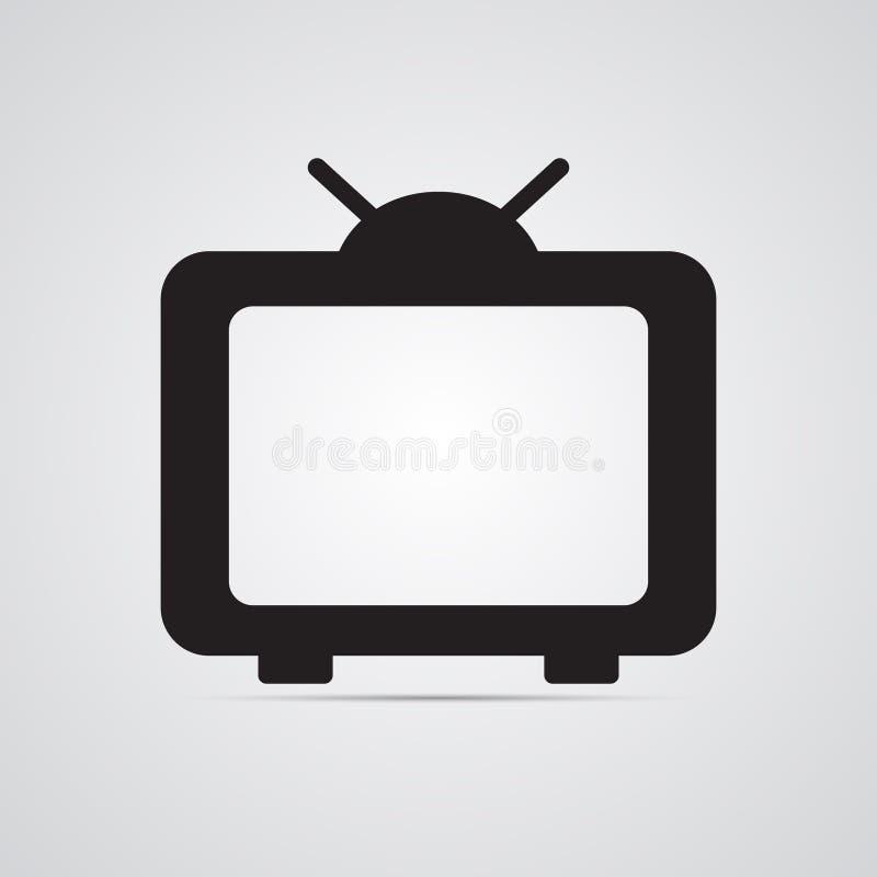 Silhouettez l'icône plate, conception simple de vecteur avec l'ombre TV avec l'antenne illustration de vecteur