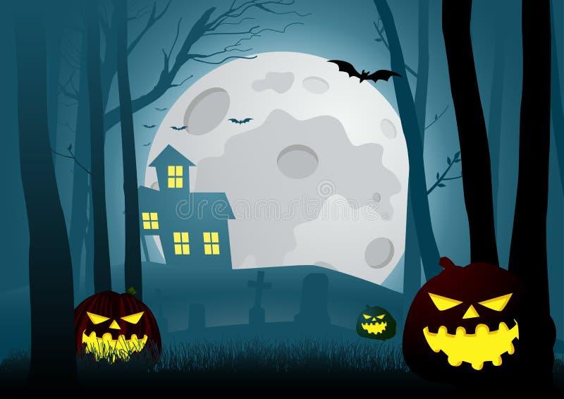 Silhouettez l'illustration d'une maison dans les bois effrayants foncés illustration de vecteur