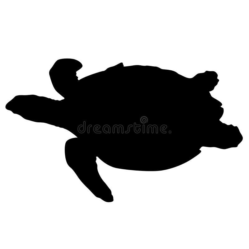 Silhouettez la belle tortue de mer sur un fond blanc illustration de vecteur