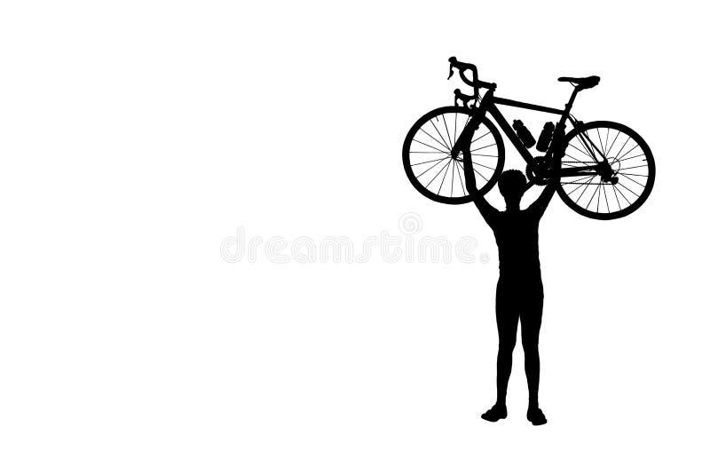 Silhouettez la bicyclette de levage d'homme au-dessus de son isolat principal sur le fond blanc image stock