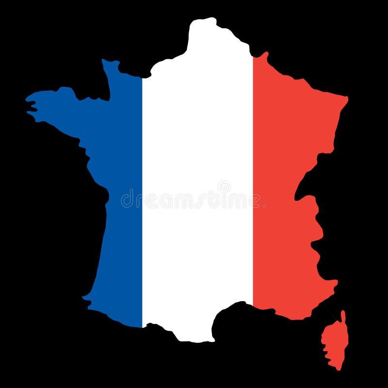 Silhouettez la carte de frontières de pays des Frances sur le backgr de drapeau national illustration libre de droits