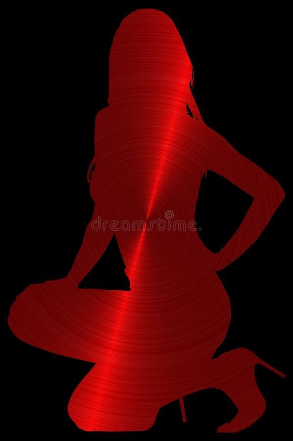 Silhouettez la fille d'ensemble illustration de vecteur