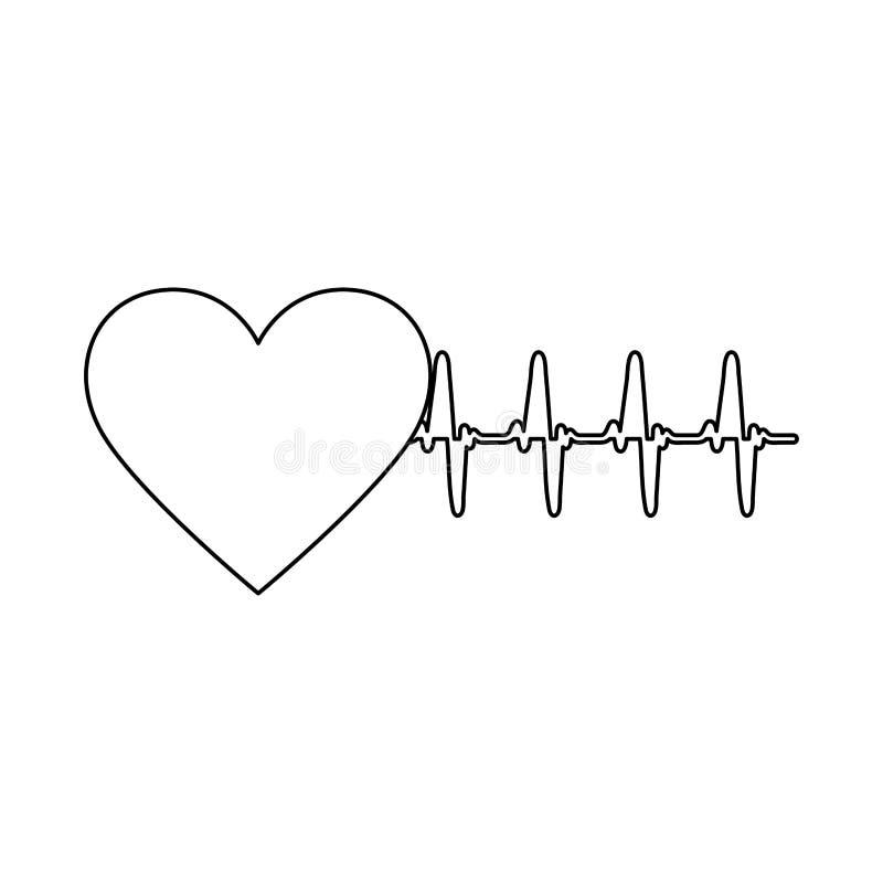 silhouettez la forme de coeur avec des battements et signez la vie illustration libre de droits