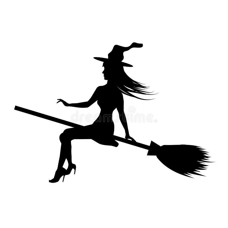 Silhouettez la jeune sorcière volant au balai d'isolement sur le fond blanc Vecteur illustration stock