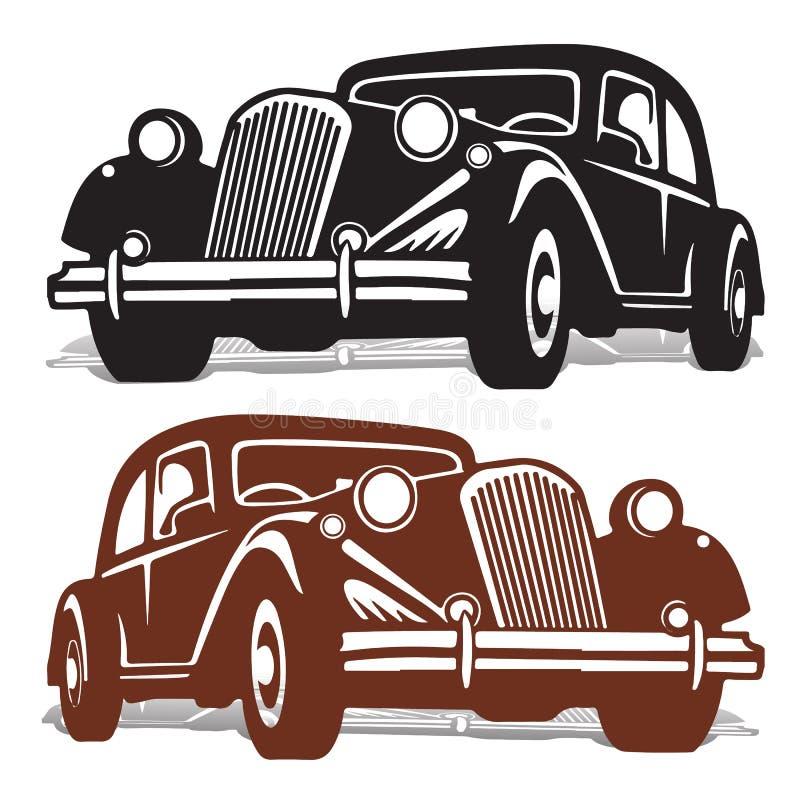 Silhouettez la machine rétro, noire et brune, sur le fond blanc, illustration stock