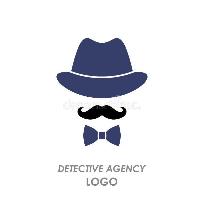 Silhouettez le chapeau, moustache, noeud papillon, agence de détectives de logo Illustration plate de vecteur d'isolement illustration de vecteur