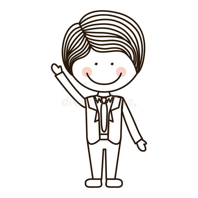Silhouettez le garçon avec la main augmentée et le costume formel illustration libre de droits