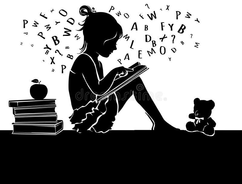 Silhouettez le livre de lecture mignon de petite fille avec l'ours de nounours illustration de vecteur