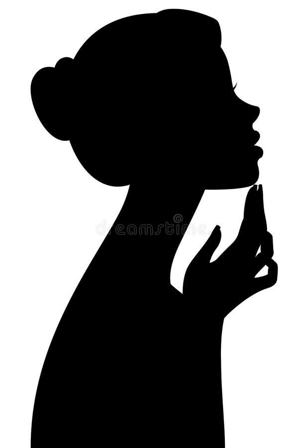 Silhouettez le portrait d'une fille dans le profil d'isolement sur le fond blanc illustration stock