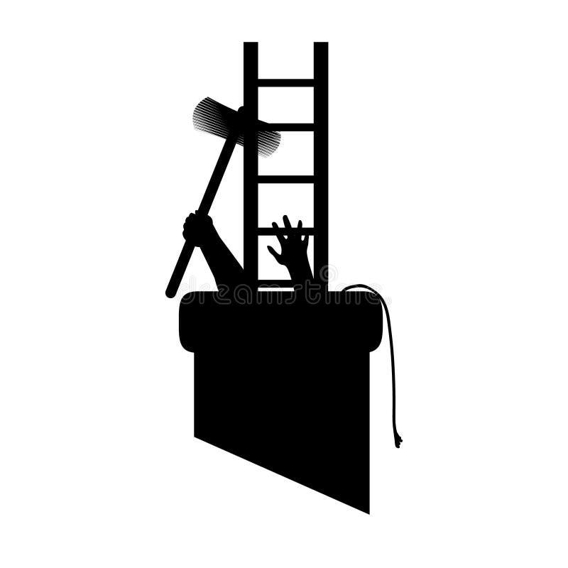 Silhouettez le ramoneur dans le tuyau avec des outils, obtenus pour travailler et vous coincez Illustration de vecteur pour des c illustration de vecteur