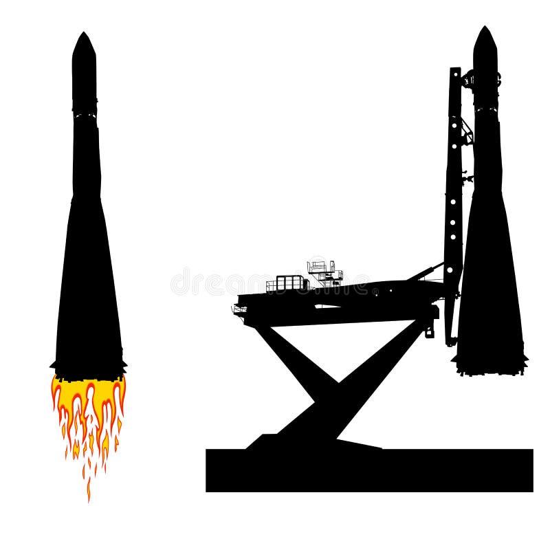 Silhouettez le vaisseau spatial avant le lancement dans l'orbite Illustration de vecteur illustration stock