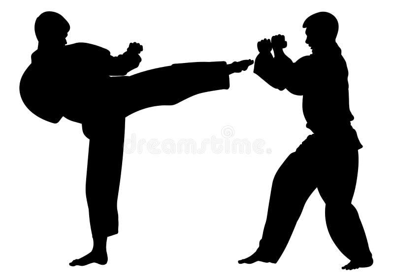 Silhouettez les athlètes de karaté, conduisant un match de formation illustration de vecteur