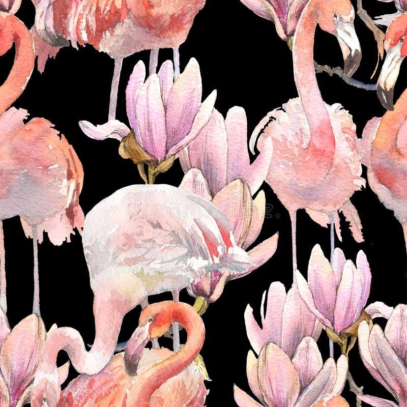 Silhouettez les oiseaux exotiques tropicaux flamant d'animaux et le papier peint de magnolia Modèle floral sans couture de la com illustration libre de droits