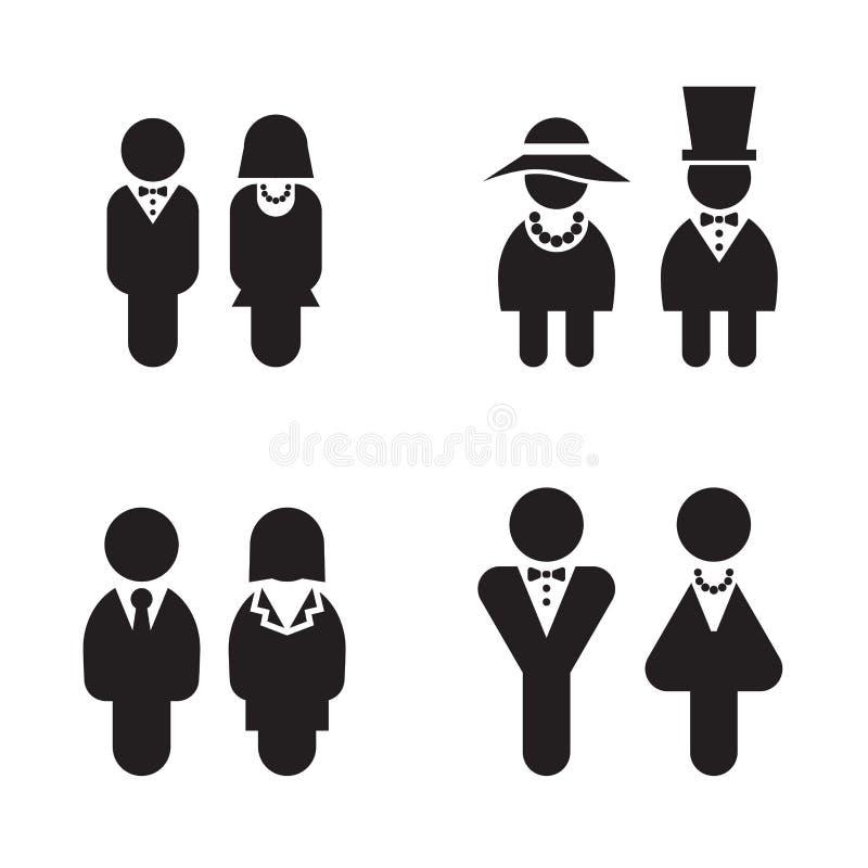 Silhouettez les toilettes, carte de travail, toilette, icônes réglées illustration stock