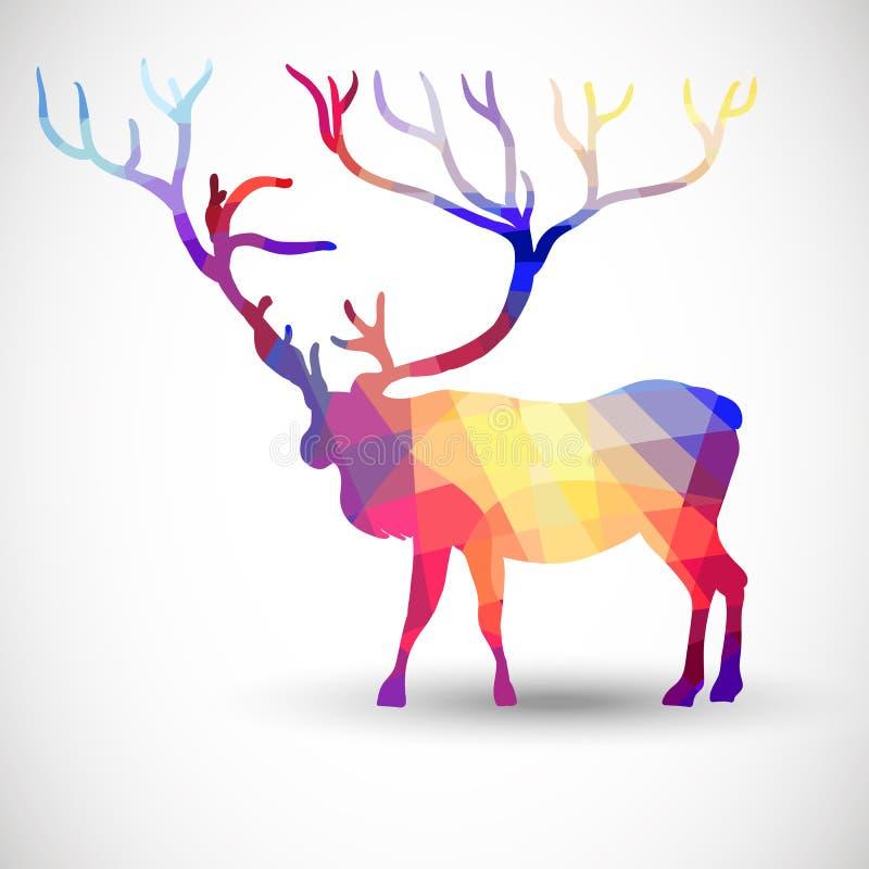 Silhouettez un cerf commun des formes géométriques illustration de vecteur