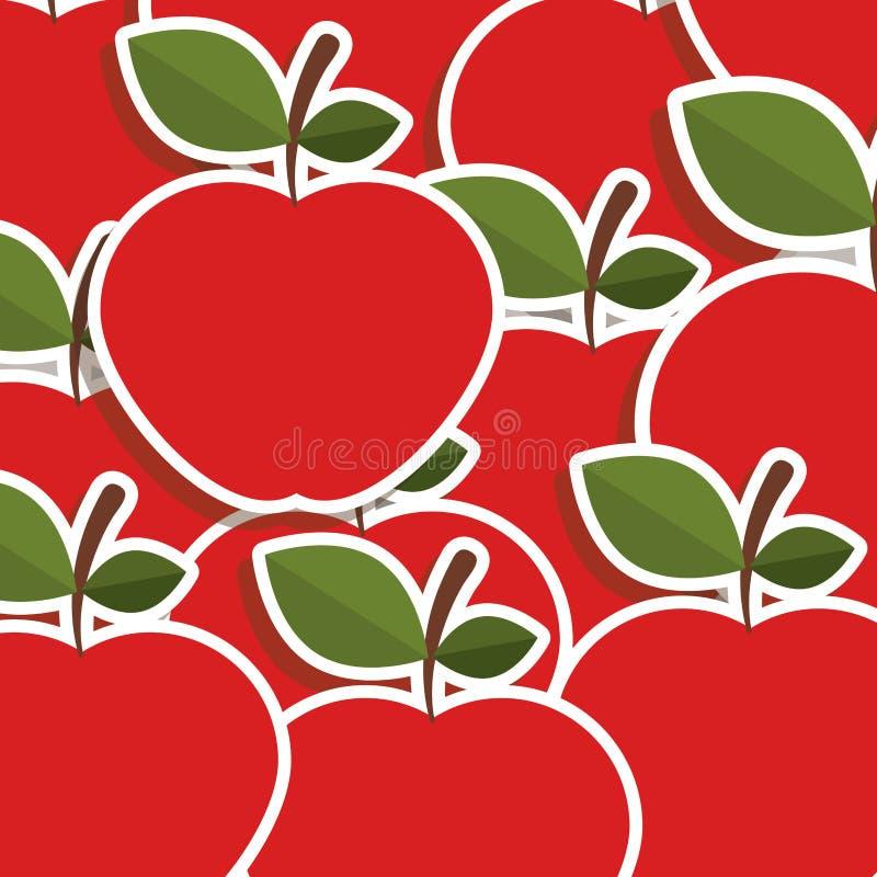 silhouettieren Sie buntes Muster von Äpfeln mit Stamm und Blättern lizenzfreie abbildung