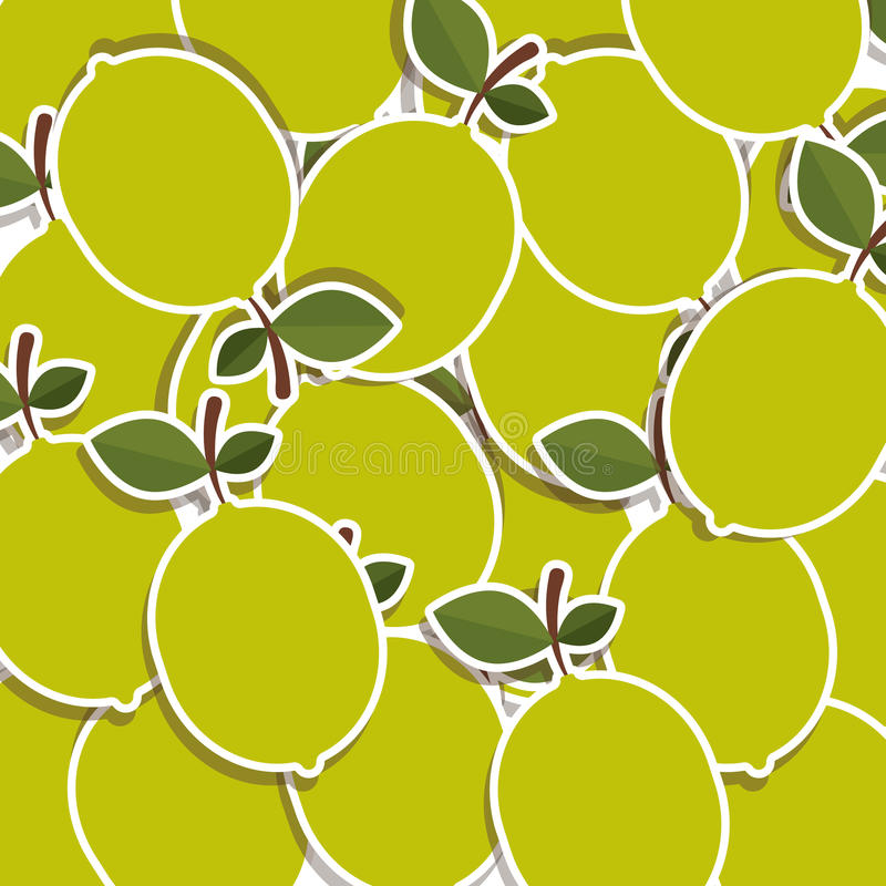 silhouettieren Sie buntes Muster von Zitronen mit Stamm und Blättern lizenzfreie abbildung