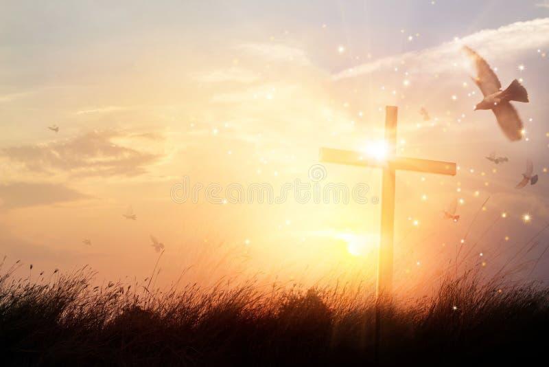 Silhouettieren Sie christliches Kreuz auf Gras im Sonnenaufganghintergrund stockfoto