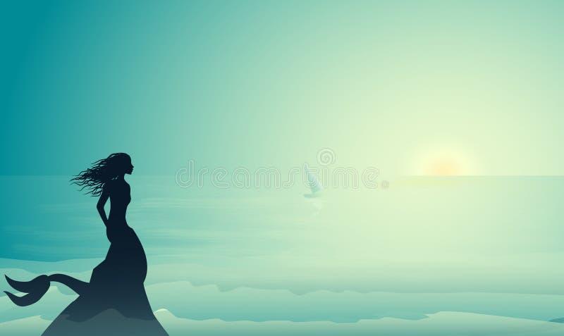 Silhouettieren Sie die Meerjungfrau, die am Rand der Klippe sitzt und das kleine Segelschiff in den Morgensonnenstrahlen, Meerjun lizenzfreie abbildung