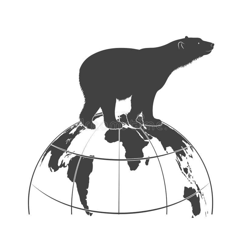 Silhouettieren Sie einen Eisbären geht auf die Kugel lizenzfreie abbildung