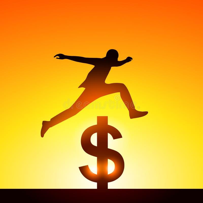 Silhouettieren Sie einen Mann, der über Dollarzeichen springt Konzept des Sieges vektor abbildung