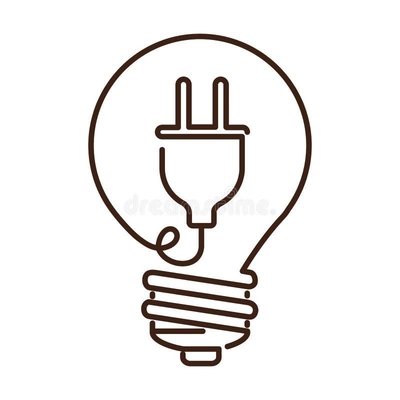 silhouettieren Sie flache Ikone der Glühlampe mit Steckerform lizenzfreie abbildung