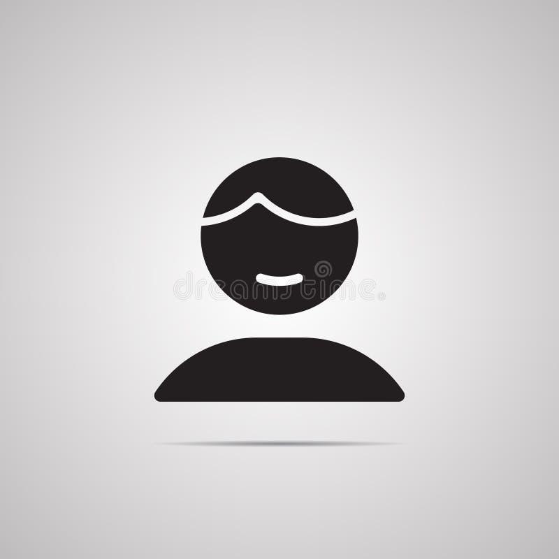 Silhouettieren Sie flache Ikone, einfaches Vektordesign mit Schatten Person für Illustration des Profils vektor abbildung