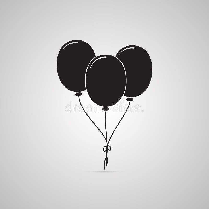Silhouettieren Sie flache Ikone, einfaches Vektordesign mit Schatten Satz Fliegen Geburtstagsballone vektor abbildung