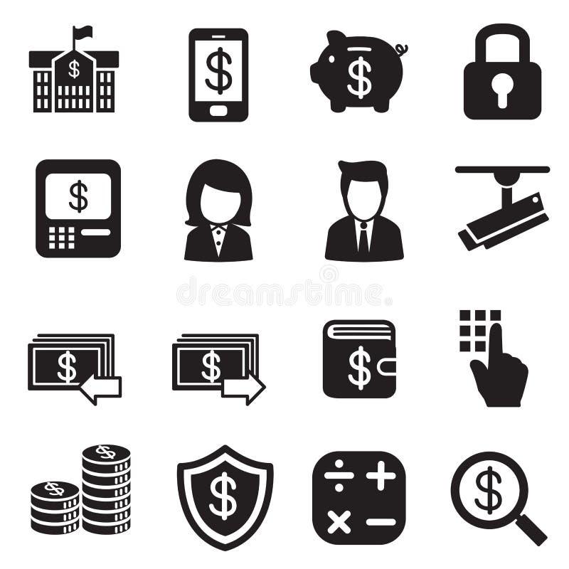 Silhouettieren Sie Geld, Finanzierung, Bankwesen, Investitions-Internetbanking vektor abbildung