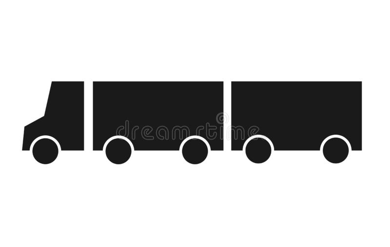 Silhouettieren Sie LKW mit flacher Vektorillustration der Lastwagenikone Lieferwagen, Servicekonzept, minimalistic Zeichen an lok stock abbildung