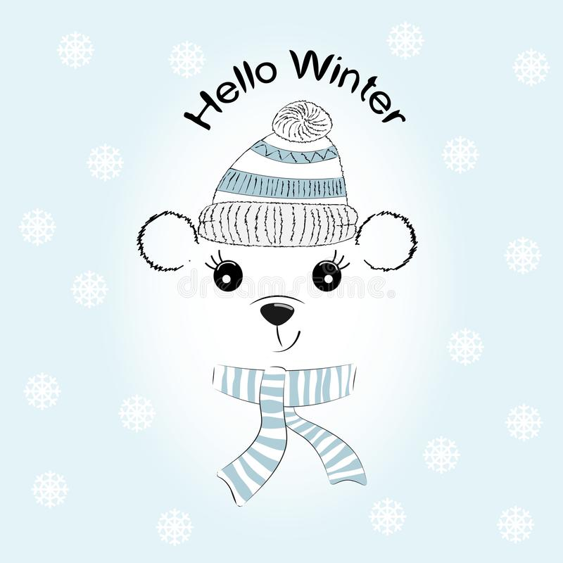 Silhouettieren Sie netten kleinen Bären mit Strickmütze und Schal vektor abbildung