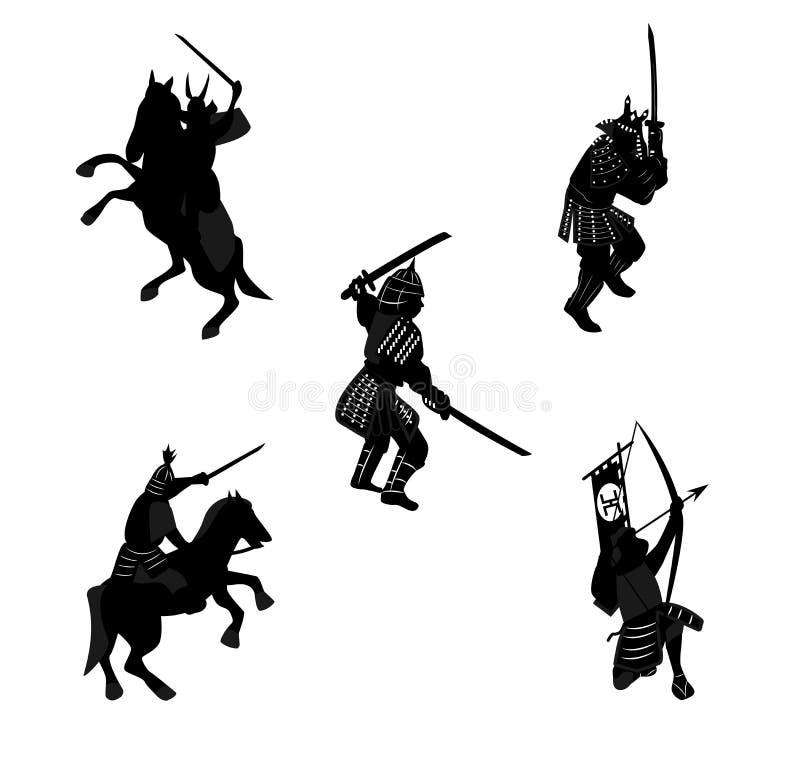 Silhouettieren Sie Samuraireiter, Bogenschützen, mit einer Klinge lizenzfreie abbildung