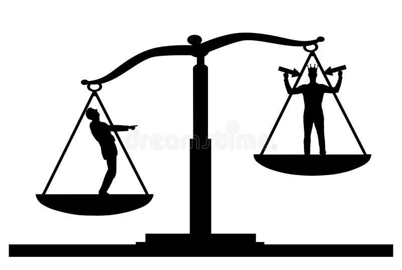 Silhouettieren Sie Vektor eines gewöhnlichen Mannes auf Skalen von Gerechtigkeit, ist er in der Priorität und er lacht über einen stock abbildung