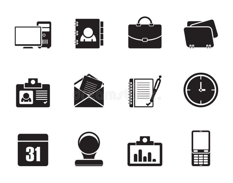 Silhouettieren Sie Web-Anwendungs-, Geschäfts- und Büroikonen, Universalikonen lizenzfreie abbildung