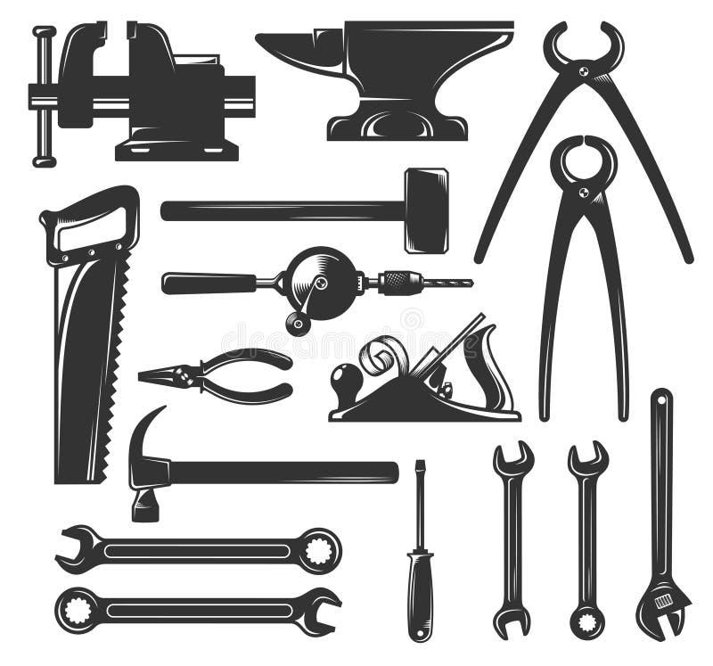 Silhouettiert allgemeine Arbeitskrafthandwerkzeuge stock abbildung