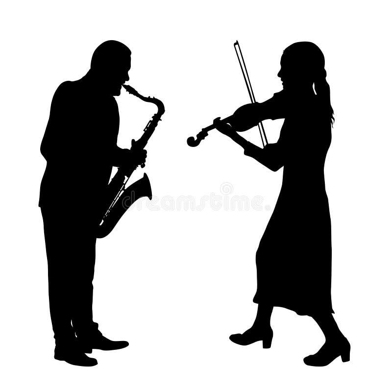 Silhouettiert einen Musiker, der das violinon und das Saxophon ein weißer Hintergrund spielt lizenzfreie abbildung