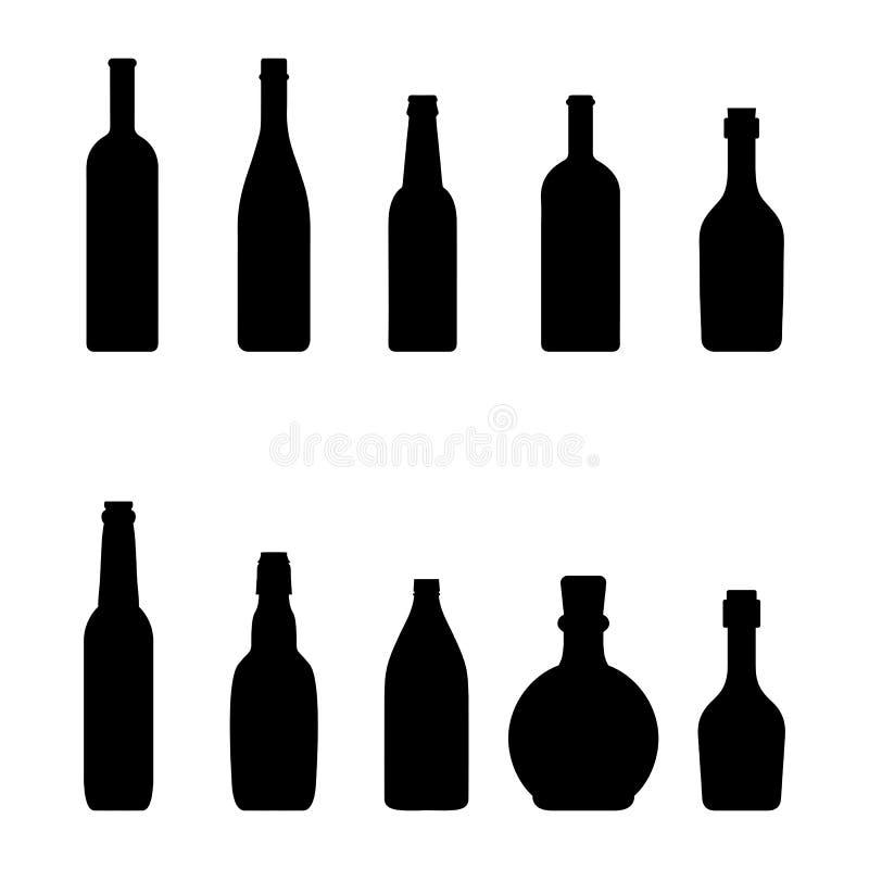 Silhouettiert Flaschen Wein - Vektor vektor abbildung