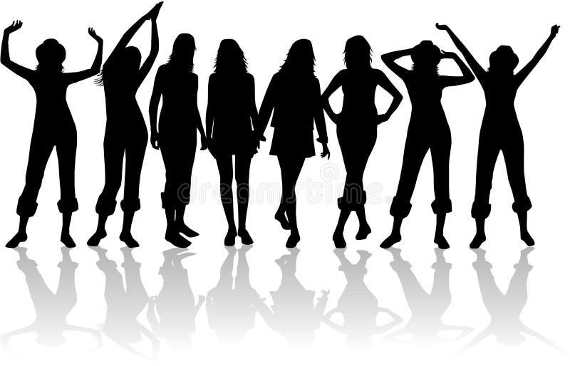 Silhouettiert Frauen stock abbildung