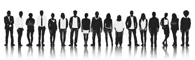 Silhouettiert Gruppe zufällige Leute in Folge lizenzfreie abbildung