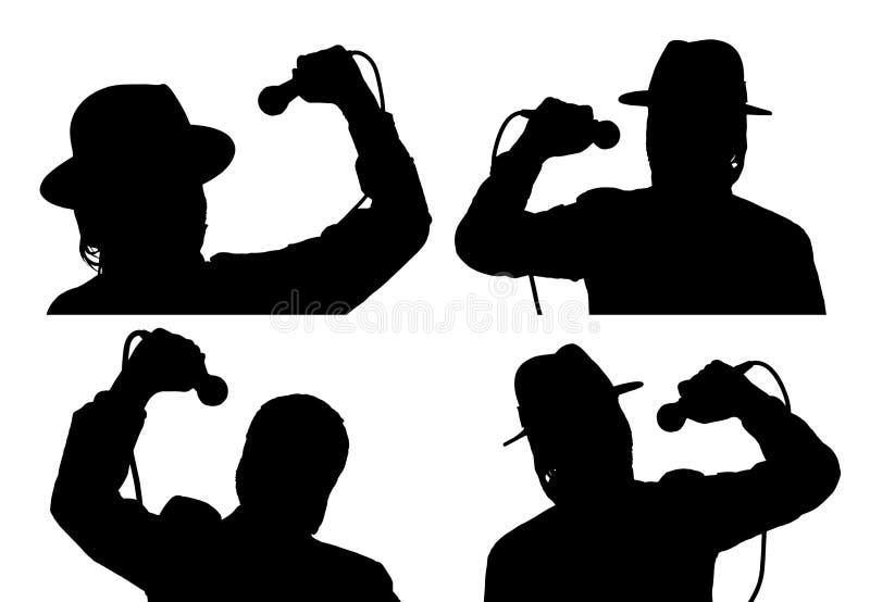 Silhouettiert Sänger mit Mikrofon lizenzfreie stockbilder