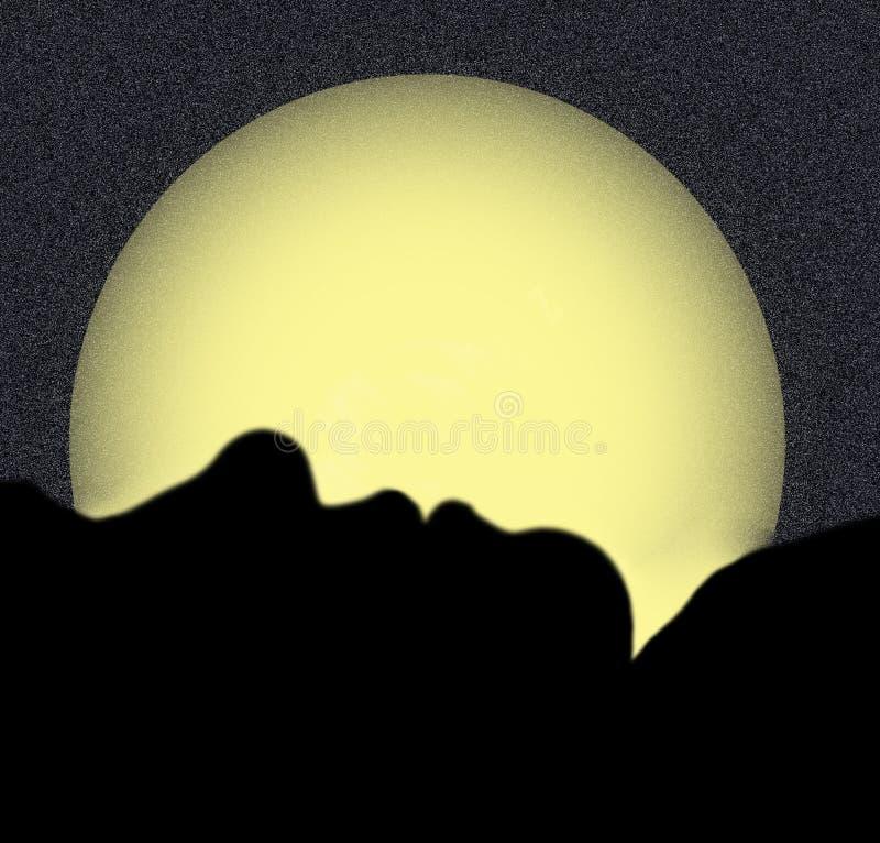 Silhouettiert vom Frauen-Schlafen stock abbildung