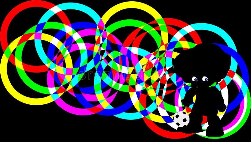 Silhouetvoetballer op achtergrond van kleurrijke ringen Knippende weg vector illustratie