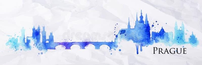 Silhouetwaterverf Praag vector illustratie