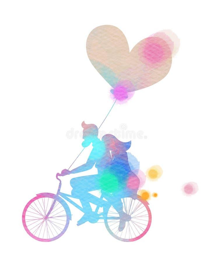Silhouetwaterverf van het romantische concept van de paarliefde Gelukkige Val stock illustratie