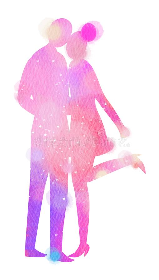Silhouetwaterverf van het romantische concept van de paarliefde Gelukkige Val vector illustratie